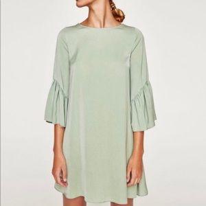 ZARA Green Mint Bell 3/4 Sleeves Shift Dress S